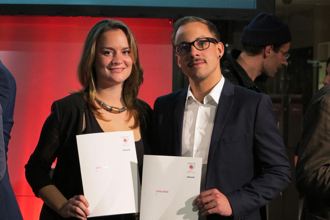Abb. 2: Die Ausgezeichneten: Simone Czernia, Christoph Bergleiter