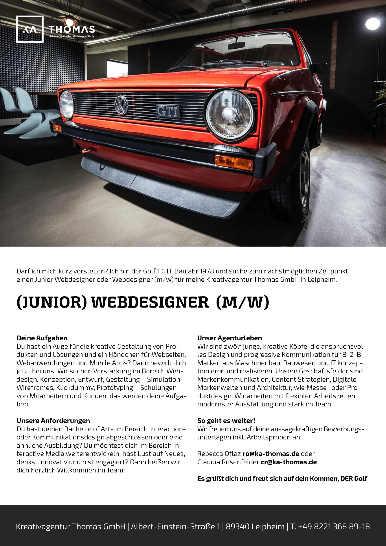 Kreativagentur Webdesigner Job Beschreibung Augsburg