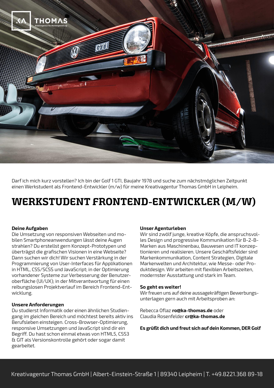 Kreativagentur Frontend Entwickler Werkstudent Job Beschreibung Augsburg